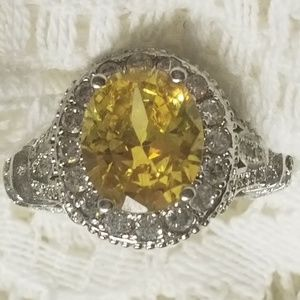 Silver 🌻w/Oval WOW Faux 💛Canary Diamond Ring s8